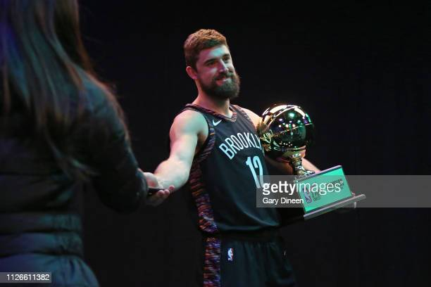Point Contest Winner Joe Harris of the Brooklyn Nets smiles following the 2019 MTN DEW 3Point Contest as part of State Farm AllStar Saturday Night on...
