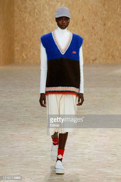 3rd : A model walks the runway during the Lacoste as part of the Paris Fashion Week Womenswear Fall/Winter 2020/2021 on March 3, 2020 in Paris,...
