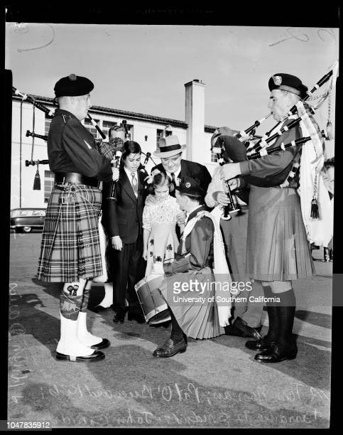 3rd annual Gaelic Feis at Mount Carmel High School 23 May 1954 Tom Noonan Scottish piperBill Jones Scottish piperPat O'Brien ActorTerrance O'Brien 12...