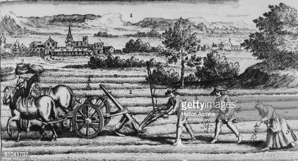 3rd April 1723 An illustration of ploughing and sowing techniques in 'Le Nouveau Theatre d'Agriculture et Menage des Champs' by Sieur Ligar published...