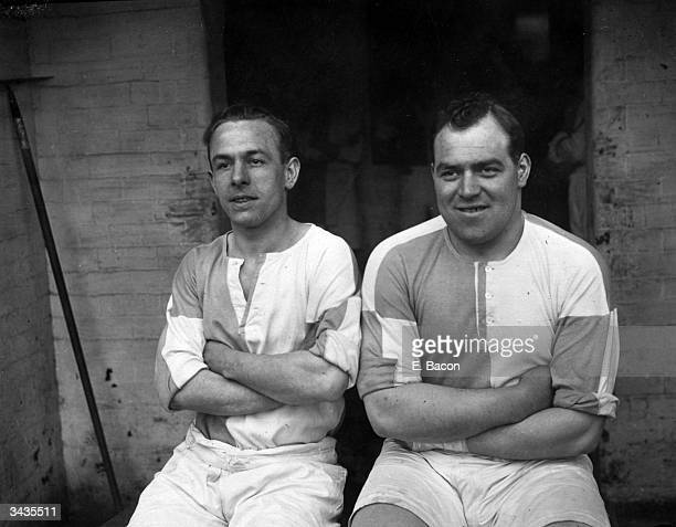 Footballers P Holland and J Hutton of the Blackburn Rovers