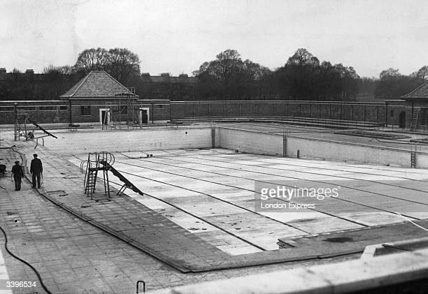 Empty outdoor swimming pool at Victoria Park London