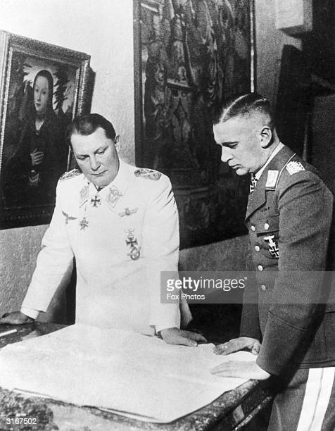 Field Marshall Hermann Goering in conversation with Major General Hans Jeschonnek Chief of Staff of the Luftwaffe