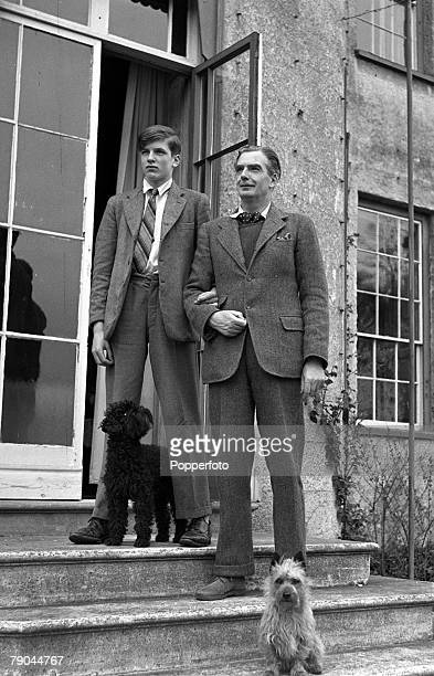 3rd April 1945 Portrait of British Conservative politician foreign secretary and Prime Minister Sir Anthony Eden 1st Earl of Avon with his son...