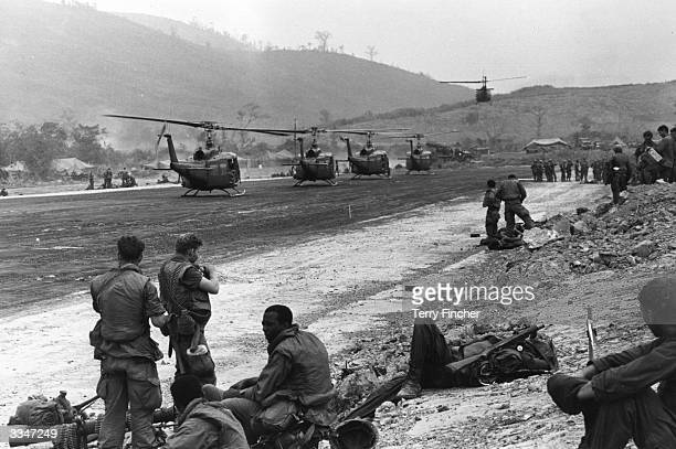 The US air cavalry move from their Command Post to the Shah landing zone in Bell Huey helicopters
