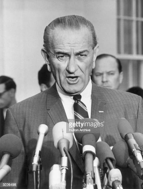 US president Lyndon Johnson announces that he will meet with North Vietnamese officials during a televised address Washington DC