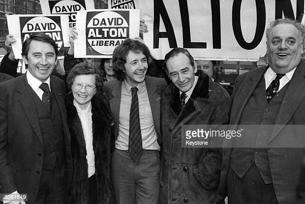 Liberal MP David Alton and his parents celebrate his byelection victory at Edge Hill with David Steel left and Cyril Smith right