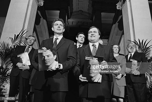 Tony Blair and fellow Labour politicians launching his party's manifesto entitled 'Because Britain Deserves Better' during his successful 1997...