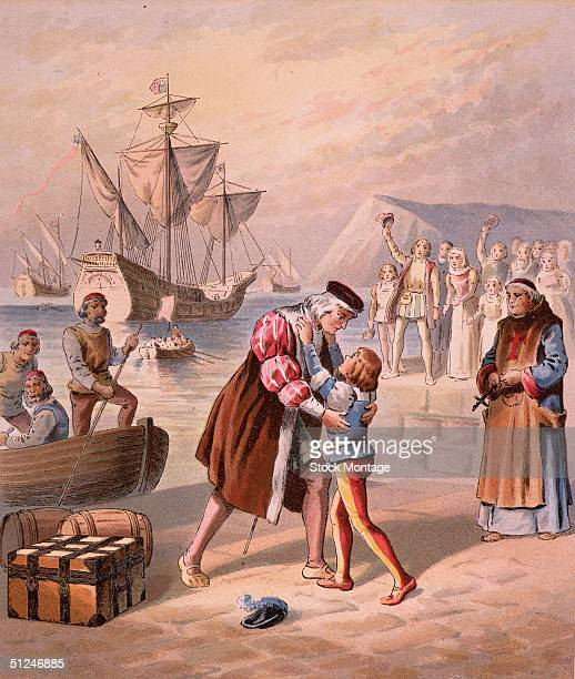 3rd August 1492 Christopher Columbus Columbus bids farewell to his son Diego at Palos Spain before embarking on his first voyage to find a passage to...