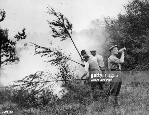 Forest fire-fighter blows a bugle for more help at Lyndhurst in New Forest.