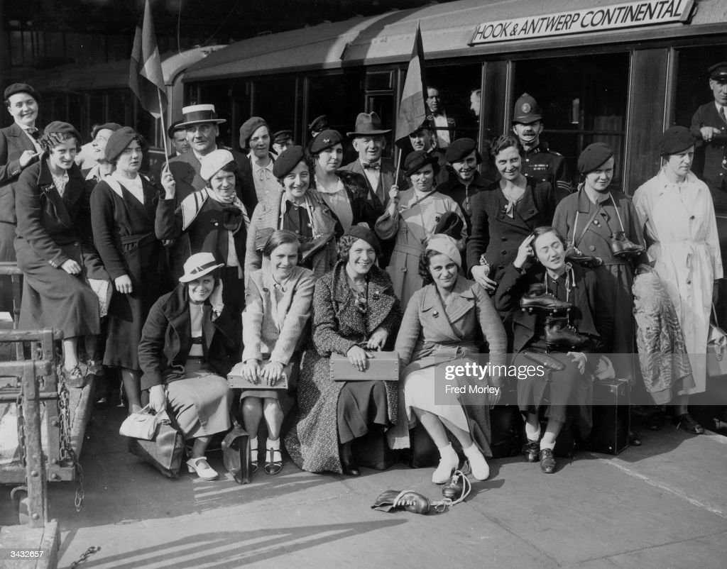 Members of the Belgian Women's Football Club at Liverpool Street Station in London, before they play Preston Women's Club for the World Championship.