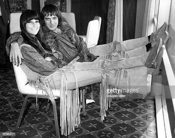American hit singing duo Sonny and Cher in London to promote their current discs relax at the Hilton Hotel Their single 'I Got You Babe' is currently...