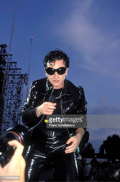 singer Bono from Irish band U2 performs live on stage at Goffertpark in Nijmegen Netherlands on 3rd August 1993 on the European leg of the Zoo TV tour