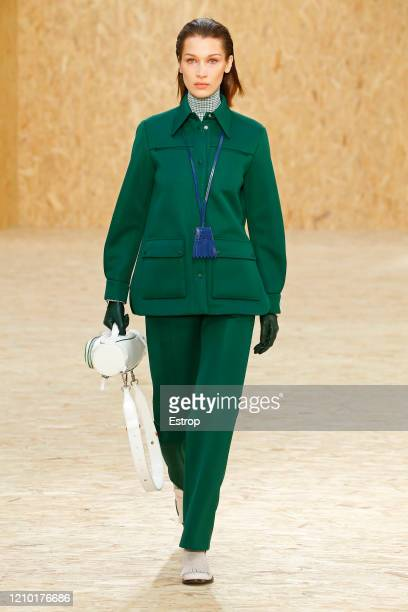 3rd : Bella Hadid walks the runway during the Lacoste as part of the Paris Fashion Week Womenswear Fall/Winter 2020/2021 on March 3, 2020 in Paris,...