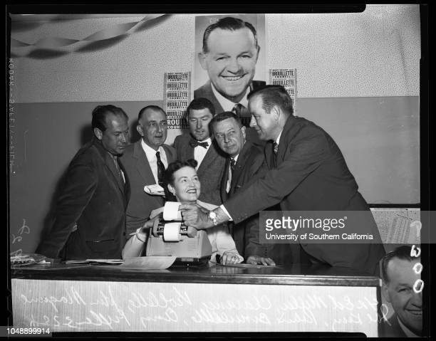 "3rd Councilman Race 29 March 1957 Ed MillerClarence ViolletteJohn McGuireJoe KingRobert BrovilletteAmy FixlerCaption slip reads ""Photographer..."