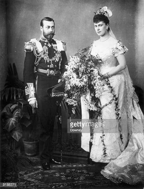 King George V on his wedding day with his bride Princess Mary of Teck