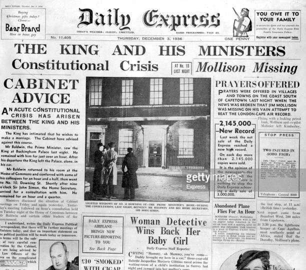 The front page of the 'Daily Express' with a leading article relating to King Edward VIII's abdication