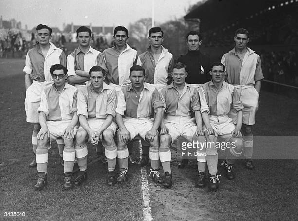 Cambridge University soccer team at Dulwich Hamlet Football Club ground in Champion Hill London before the inter'varsity match against Oxford...