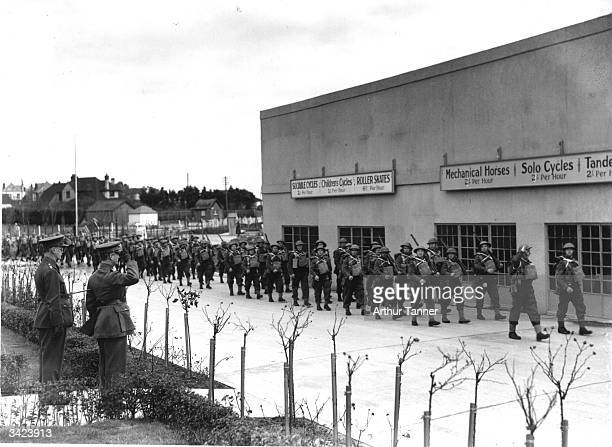 Pioneer corps marching at a military training centre formerly a Butlin's holiday camp at Skegness