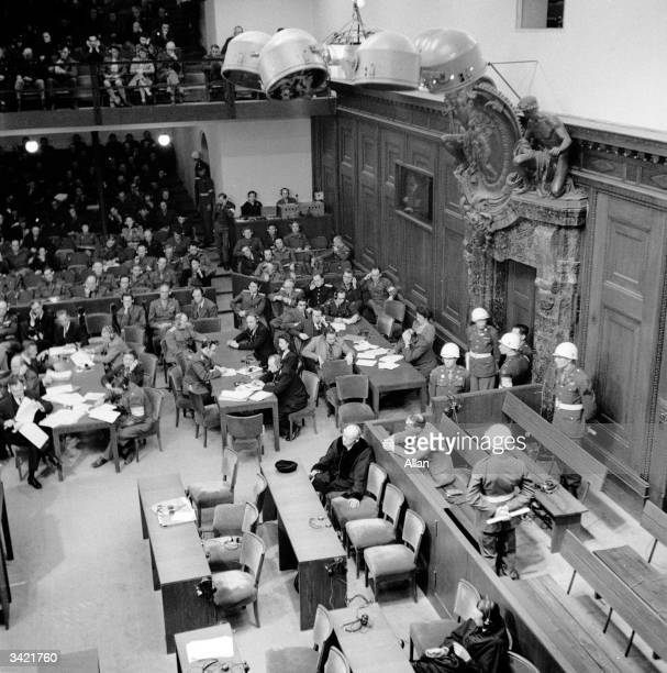 A courtroom scene during the Nuremberg War Crimes Trial