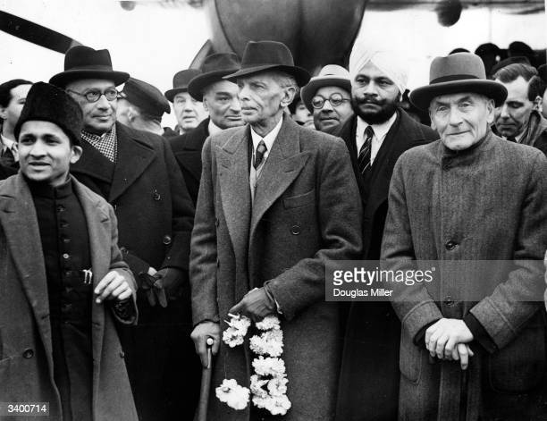 Leader of the Indian Muslim League Muhammad Ali Jinnah arrives at London Airport with viceroy and governorgeneral of India Lord Wavell Liaquat Ali...
