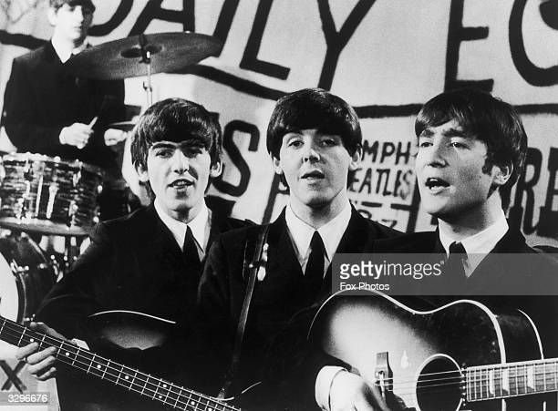 Top British pop group The Beatles in performance from left to right Ringo Starr George Harrison Paul McCartney and John Lennon