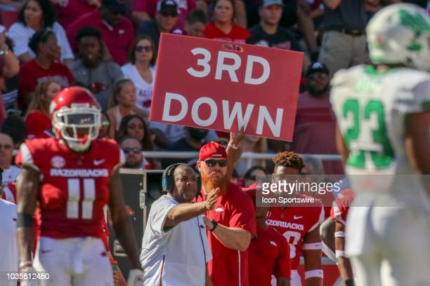 A 3rd down sign on the Arkansas sideline during the North Texas Mean Green 4417 win over the Arkansas Razorbacks on September 15 at Razorback Stadium...