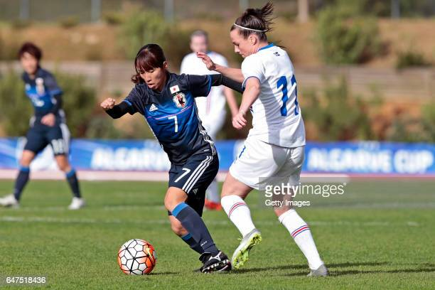 Emi Nakajima of Japan Women challenges Hallbera Gudny Gisladottir of Iceland Women during the match between Japan v Iceland Women's Algarve Cup on...
