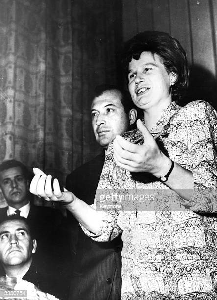 Russian astronaut Valentina Tereshkova the first woman in space answering a question at a press conference in Beirut
