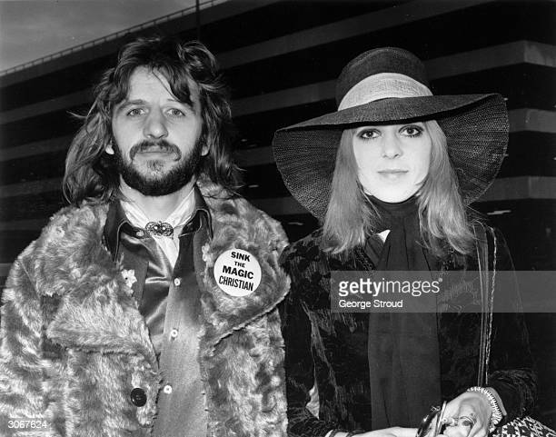 British pop star Ringo Starr with his first wife Maureen at an airport Ringo's badge refers to the film 'The Magic Christian' in which he starred...