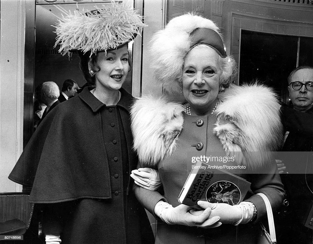 3rd February 1971 London, England. Authoress Barbara Cartland is shown with her daughter the Countess of Dartmouth at a launch party at the Dorchester Hotel for her book -We Danced All Night'. : News Photo