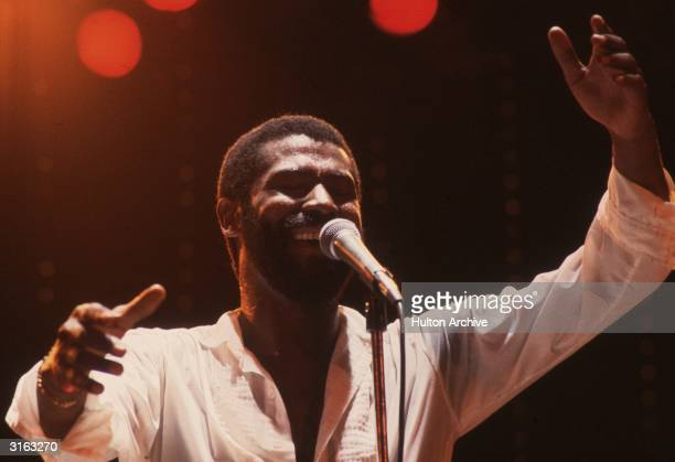 American singer Teddy Pendergrass in concert at the Hammersmith Odeon in London