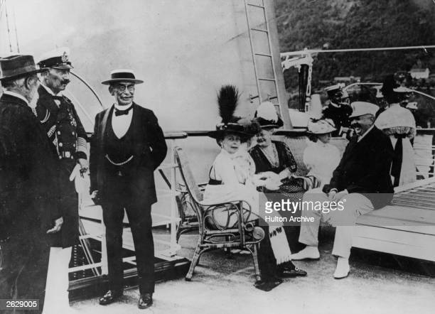 3rd German Emperor and 9th King of Prussia Kaiser Wilhelm II holds court on the Royal Yacht during a visit to Sweden Original Publication People Disc...
