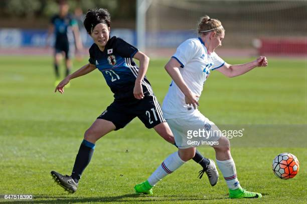 Hikaru Kitagawa of Japan Women challenges Yuka Momiki of Iceland Women during the match between Japan v Iceland Women's Algarve Cup on March 3rd 2017...