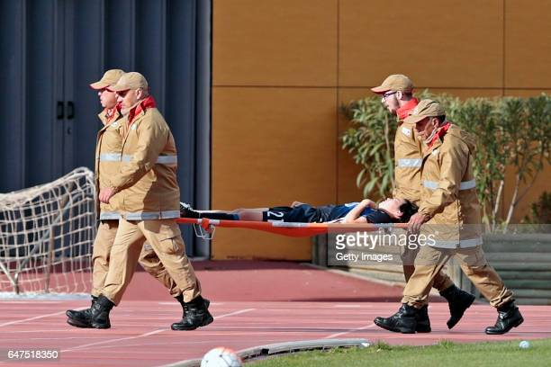 Hikaru Kitagawa of Japan Women leaves injured during the match between Japan v Iceland Women's Algarve Cup on March 3rd 2017 in Parchal Portugal