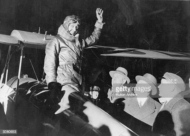 British aviator Amy Johnson on her arrival at Tempelhof airport Berlin on the first leg of her solo flight to China via Siberia