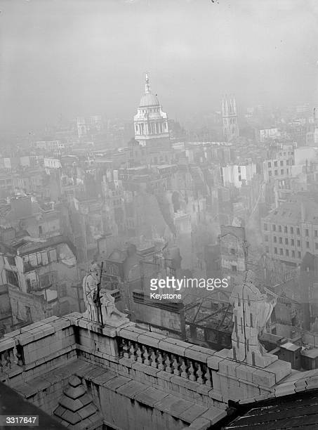 A view from St Paul's showing the devastation wrecked on London during the blitz in WW II