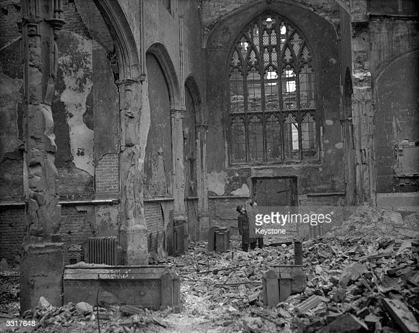 The gutted interior of one of the City of London's old churches