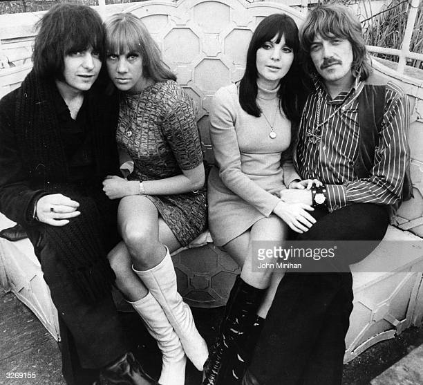 Rock guitarist Ritchie Blackmore left and keyboard player Jon Lord right of the group Deep Purple celebrate both their engagements to their...