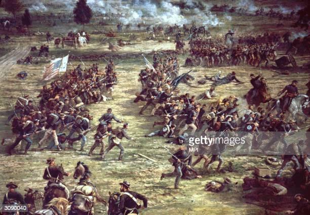 Fighting at the battle of Gettysburg Pennsylvania