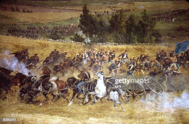 Troops fighting during the battle of Gettysburg Pennsylvania