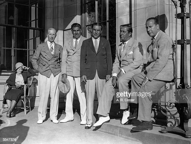 Five American golfers relaxing at the Gleneagles Hotel. Left to Right P E Leviton, Olin Dutra, Billy Burke, Walter Hagen and Al Free. Hagen became...