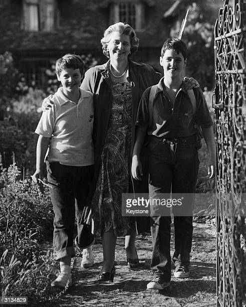 English film actress Elspeth March with her sons Lindsay and Jamie from her marriage to film star Stewart Granger