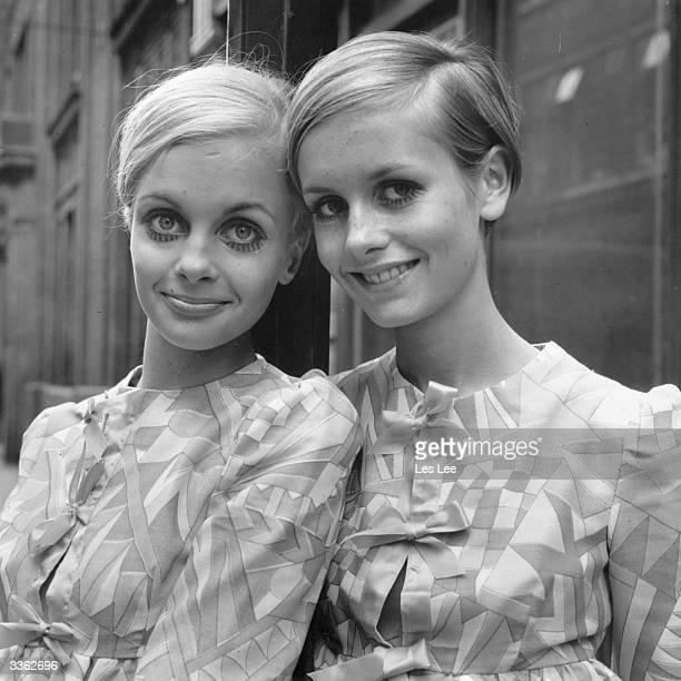 British model Twiggy heralding a new look in 1960's fashion with a Swedish lookalike called Crumb.