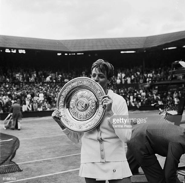 Australian tennis player Margaret Court with the Ladies Singles title trophy which she won by beating her old rival BillieJean King in straight sets
