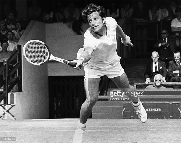 Czech tennis player Jan Kodes in action against Vijay Amritraj of India in the quarter finals at the Wimbledon Lawn Tennis Championships
