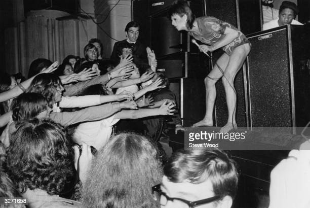 David Bowie in concert at the Hammersmith Odeon on 3rd July 1973 the last concert performed in the guise of his spacerocker character Ziggy Stardust