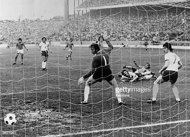 Dutch international Johannes Neeskens scores a goal against East Germany in a second round match in the World Cup Holland won 20 only to lose to West...
