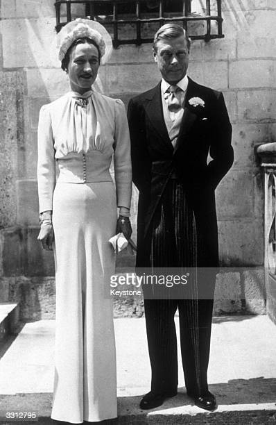 A portrait of the Duke and Duchess of Windsor on their wedding day at the Chateau de Conde in France