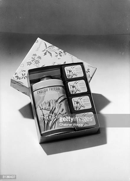 A presentation case of English Freesia talcum powder and soaps from Grossmith of Piccadilly London Taken for the Grossmith catalogue